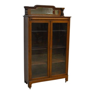 Early 20th Century Antique Solid Oak 2 Door Bookcase