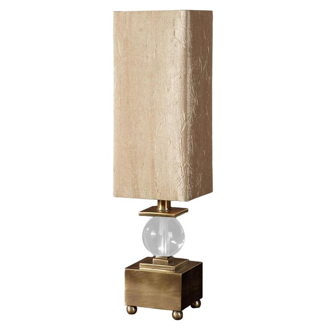 Brushed Brass & Crystal Ball Lamp - Image 1 of 4