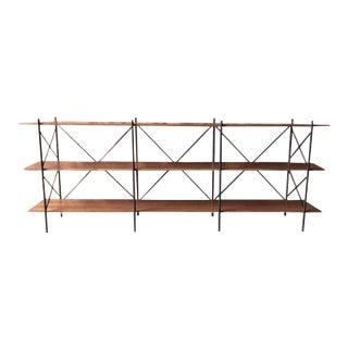 Mid-Century Style Custom Walnut Bookcase Shelf Bar For Sale