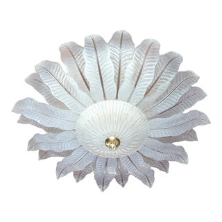 Very Large Flush-Mount Murano Chandelier, Mid-Century-Modern Barovier Toso 1970s For Sale