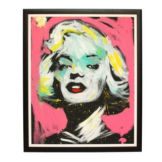 Large Signed Original Framed Painting Marilyn For Sale