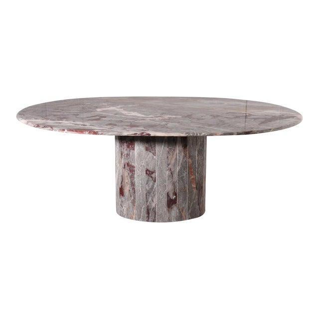 Oval Salome Marble Pedestal Dining Table, Italy, 1970s For Sale