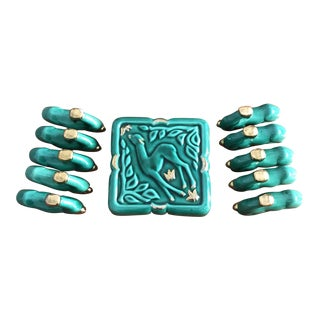 1950s French Majolica Trivet and Knife Rest - Set of 11 For Sale