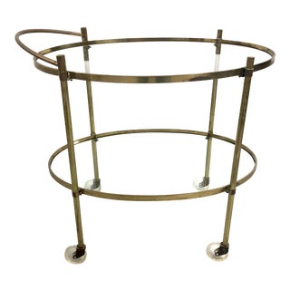 Mid Century Modern Solid Brass Two-Tier Oval Bar Cart Server For Sale