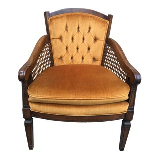 Vintage Mid Century Federal Style Tufted Velvet Upholstered Caned Armchair For Sale