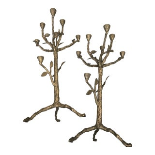 Arteriors Home Sherwood Solid Brass Candle Holders - a Pair For Sale