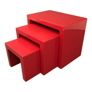 Mid Century Glossy Lacquered Red Waterfall End Tables- 3 Pieces For Sale