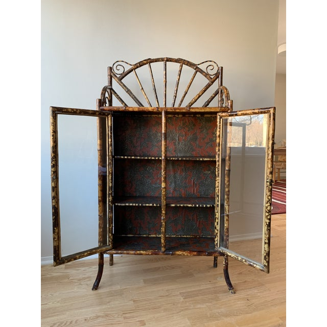 Antique Burnt Bamboo Etagere With Glass Front For Sale - Image 4 of 10