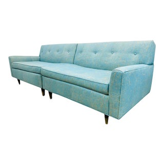 1950s Mid Century Modern Two Piece Sofa Upholstered in Sunbrella For Sale