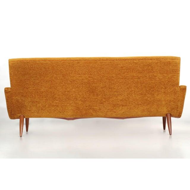 Scandinavian Mid Century Modern Orange Sculpted Walnut Sofa circa 1960s - Image 4 of 11