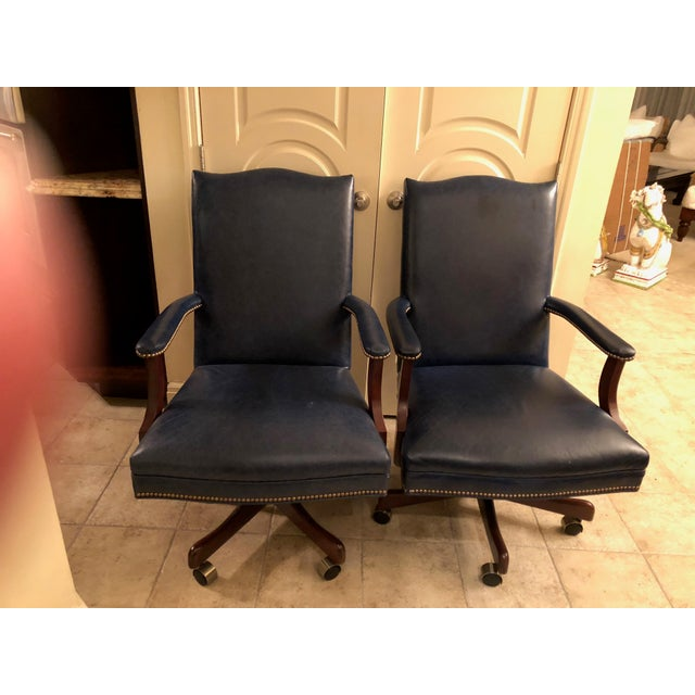 Old Hickory Tannery Navy Blue Leather Desk Chairs - a Pair - Image 3 of 3
