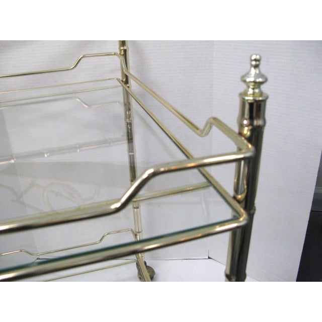 Asian Mid-Century Faux Bamboo Original Glass Bar Cart For Sale - Image 3 of 9