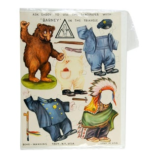 Barney the Bear Advertising Paper Doll Behr Abrasives For Sale