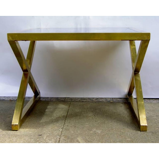 Late 20th Century Italian Modern X-Frame Handcrafted Bronze and Black Low Coffee Tables - a Pair For Sale - Image 5 of 11