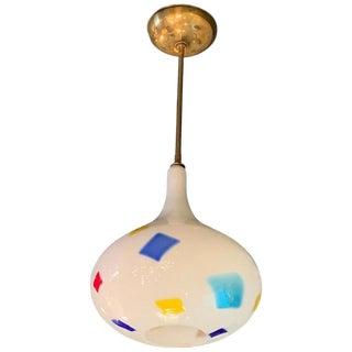 Mid-Century Modern Color Patch Milk Glass Onion Shape Pendant Light For Sale