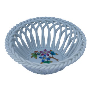 Vintage Herend Hand-Painted Weaved Porcelain Dish For Sale