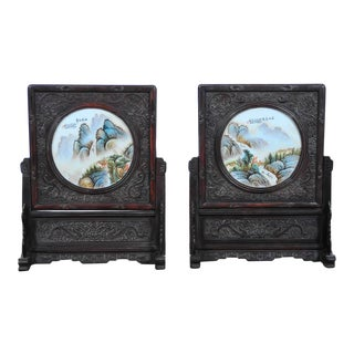 Pair of Chinese Large Circular Porcelain Hand Painted Panels