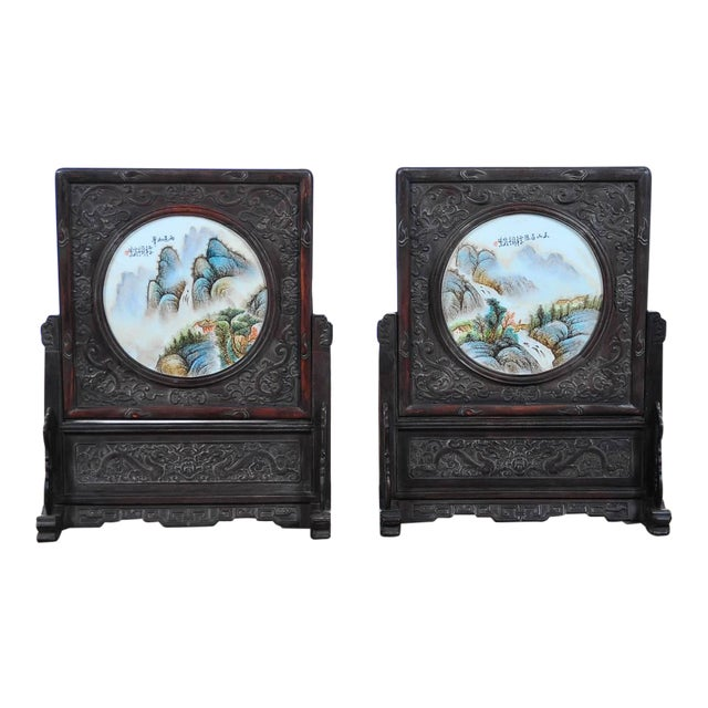 Pair of Chinese Large Circular Porcelain Hand Painted Panels For Sale
