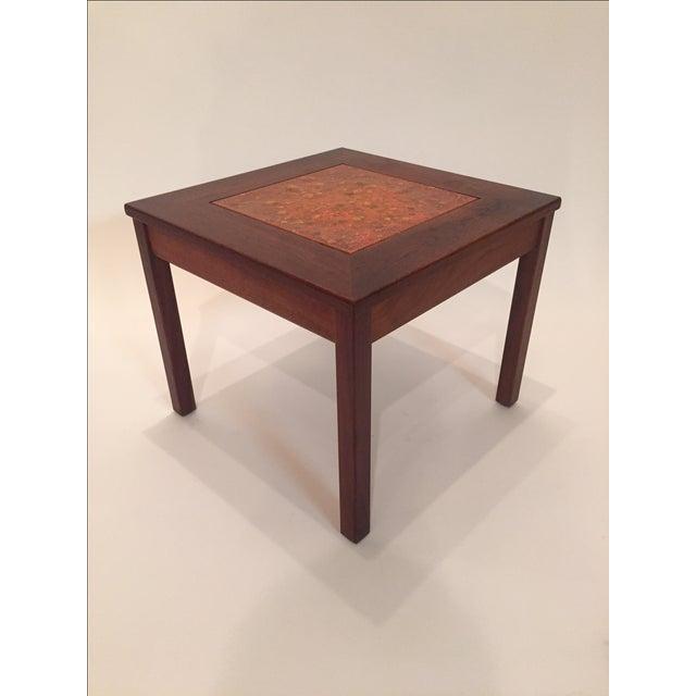 "John Keal for Brown Saltman tile top side table ""Sunglow"". Beautiful orange and marigold enamel tile. One corner has some..."