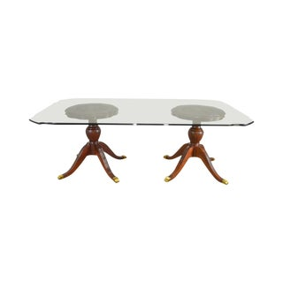 "Lexington Mahogany Carved Double Pedestal 84"" Glass Top Dining Table For Sale"