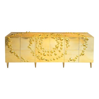 Roberto Giulio Rida - Unique Sideboard Made of Brass, Wood, and Glass Crystals For Sale