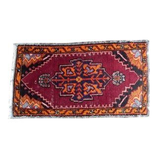 Hand Knotted Door Mat, Entryway Rug, Bath Mat, Kitchen Decor, Small Rug, Turkish Rug 1′10″ × 3′2″ For Sale