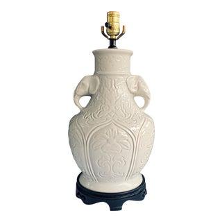 Vintage Large Table Lamp White Ceramic Urn Jar Elephant Handles For Sale