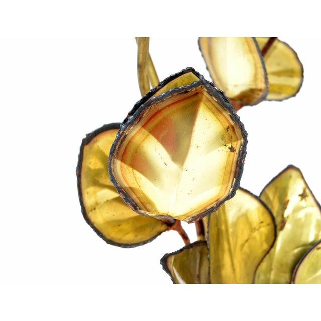 Brass Maison Jansen French Mid-Century Modern 3 Light Cut Brass Flower Table Lamp For Sale - Image 8 of 13