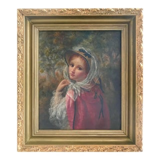 Antique Portrait Young Woman Oil Painting by W. Banta 1886 New York For Sale
