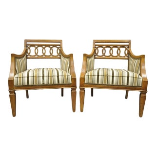 Late 20th Century Vintage Hollywood Regency French Style Carved Spiral Back Arm Chairs- A Pair For Sale
