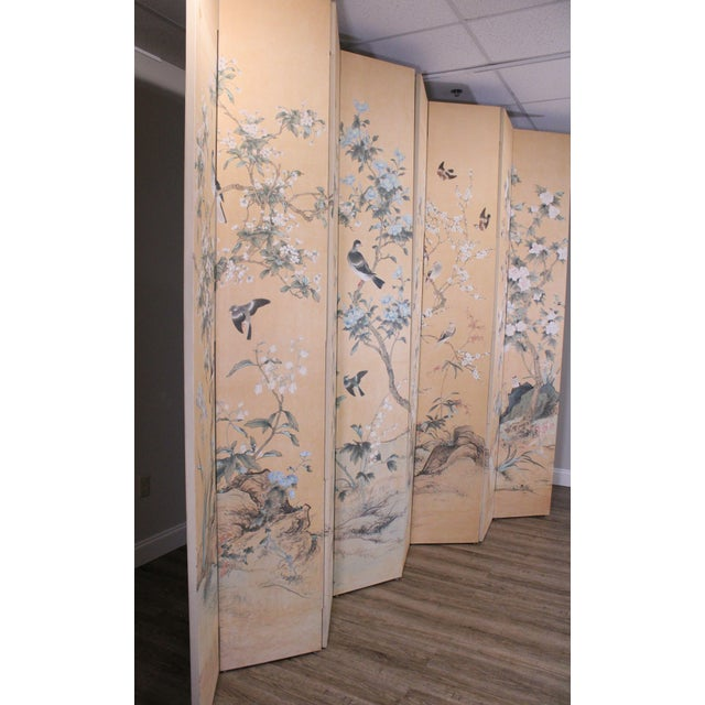 Traditional Monumental Oriental 2 Piece 8 Panel Hand Painted Folding Screen Room Divider For Sale - Image 3 of 13