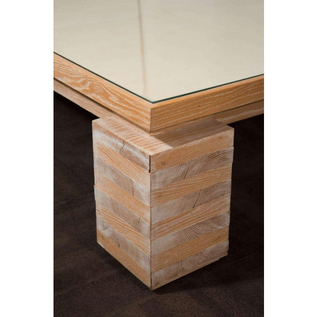2000s Monumental Limed Oak Coffee Table With Parchment Top For Sale - Image 5 of 8