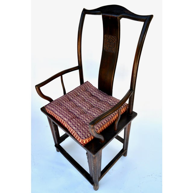 Antique Pair Tall Chinese Scholar Chairs For Sale - Image 10 of 12