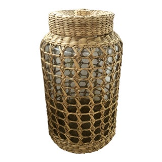 Natural Woven Wicker Caned Glass Canister For Sale