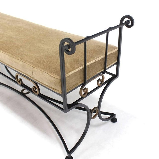 New mohair upholstery wrought iron window bench.