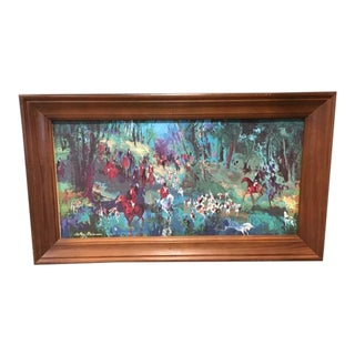 1960s Vintage Leroy Neiman Fox Hunt With Unicorn Equestrian Serigraph on Canvas Print For Sale