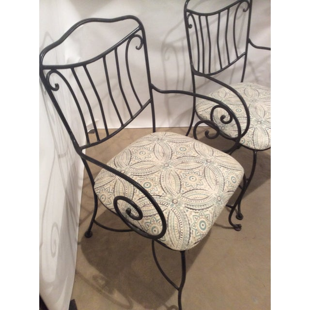 Traditional Pair of Black Wrought Iron Garden Chairs For Sale - Image 3 of 5