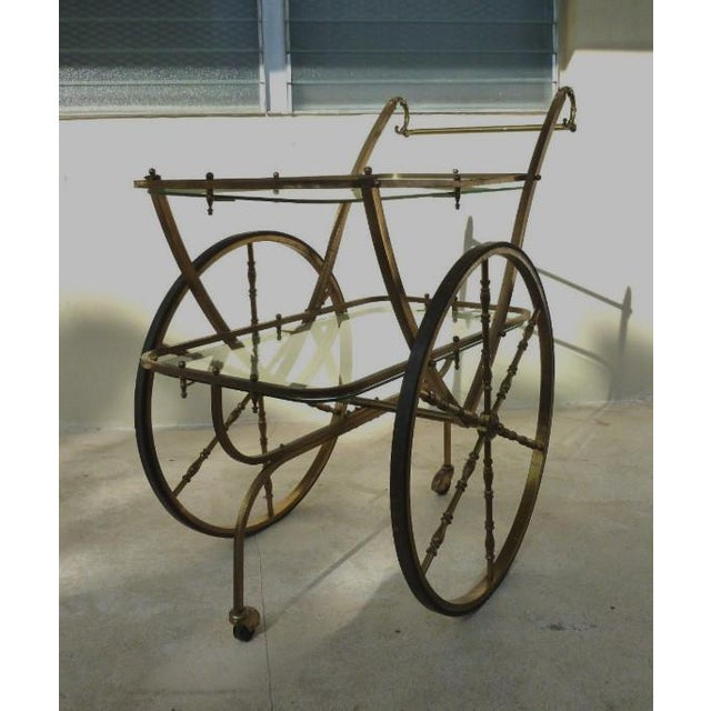 Brass Mid-Century Hollywood Regency Brass Bar Cart For Sale - Image 8 of 12
