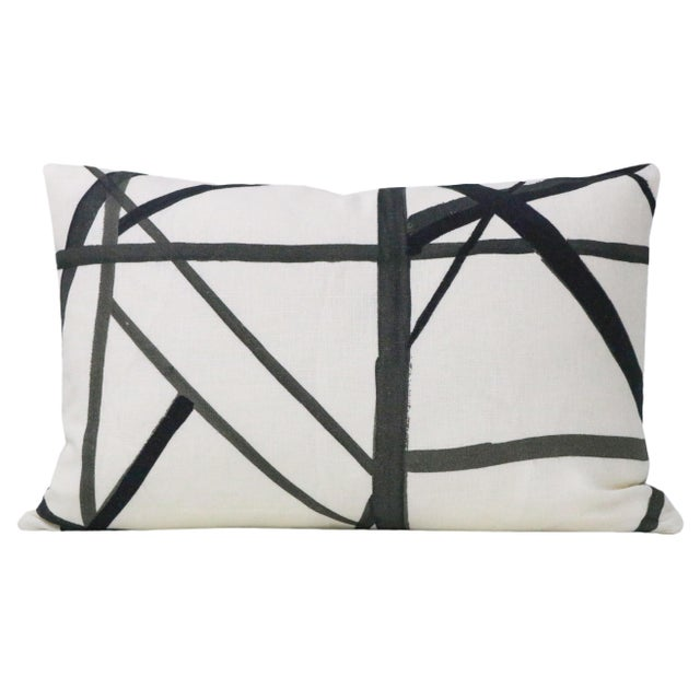 Pair of custom-made pillows in Channels in the Ebony colorway. Coordinating solid off-white linen reverse. Meticulously...