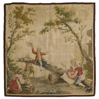 Late 18th Century Antique French Aubusson Tapestry For Sale