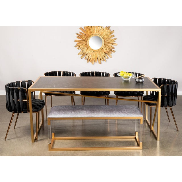 2010s Modern Milano Dining Chair in Black and Gold For Sale - Image 5 of 5