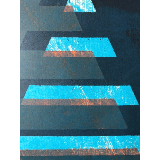 """Blue 1970s Abstract Silkscreen """"Pyramid"""" j.h. Turner For Sale - Image 8 of 9"""
