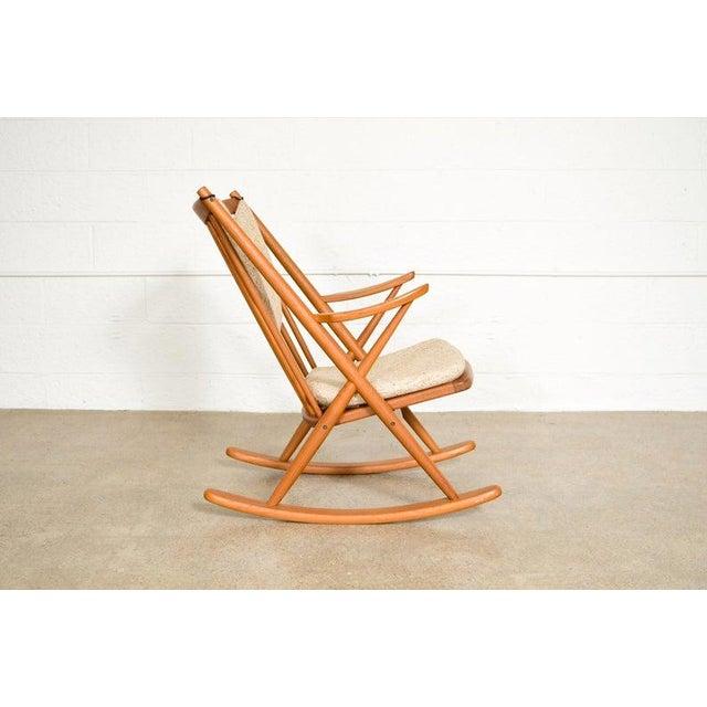 Vintage Mid Century Danish Modern Frank Reenskaug for Bramin Teak Wood Rocker Rocking Chair, 1960s For Sale In Detroit - Image 6 of 11