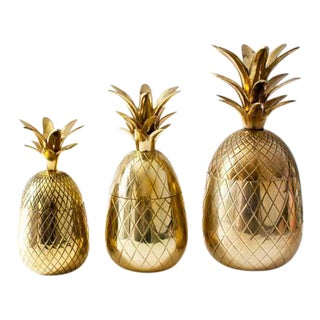 Brass Pineapple Candleholders - Set of 3