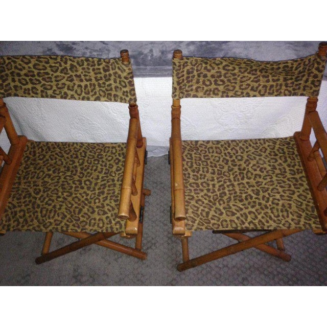 Mid-Century Modern Directors Chairs From Telescope Chair, Leopard Print Fabric, Midcentury, Pair For Sale - Image 3 of 13