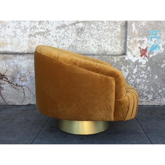 Hollywood Regency Gold Velvet W Chair - Image 5 of 6