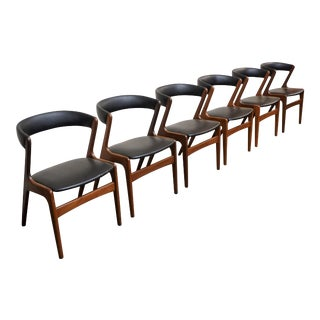 "Original Danish Mid Century 6 Kai Kristiansen ""Fire"" Dining Chairs - ""Slotsholmen"" For Sale"
