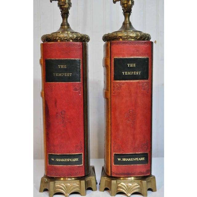 American Classical Vintage English Style Brass and Tooled Leather Bound Book Form Table Lamps - a Pair For Sale - Image 3 of 11