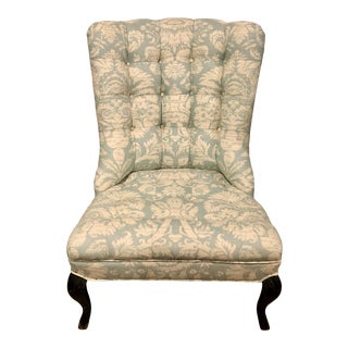 Blue & White Linen Damask Reading Chair For Sale