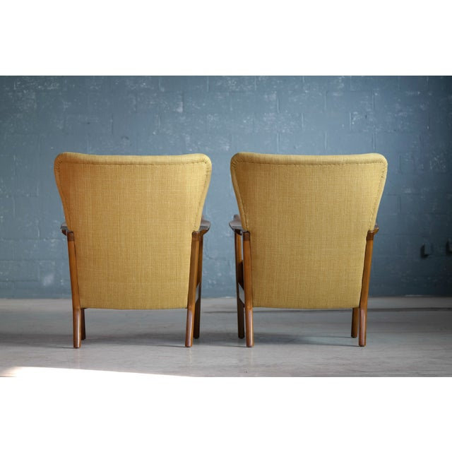 Fritz Hansen Danish Pair of Low Back Lounge Chairs With Open Armrests, 1940s For Sale - Image 12 of 13